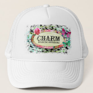 GC | SHABBY Vintage Charm - Black Damask Trucker Hat