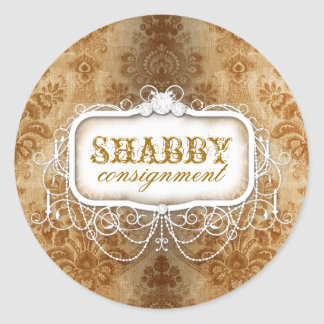 GC Shabby Vintage Gold Damask Sticker