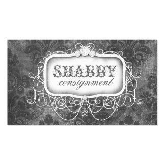 GC Shabby Vintage Gray Damask Business Card