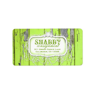 GC Shabby Vintage Lime Green Label