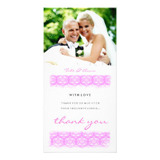 GC | Sweet Pink Print Thank You Personalized Photo Card
