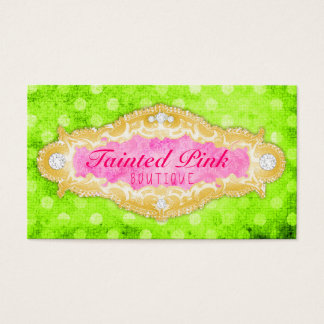GC Tainted Lime 2 Pink & Gold Polka Dots Business Card