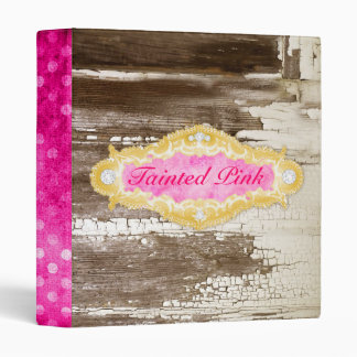 GC Tainted Pink Chipped Paint 3 Ring Binders