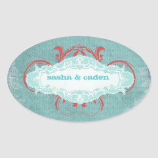 """GC   Tantalizing Turquoise Red """"Aged"""" Oval Sticker"""