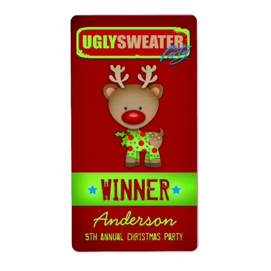 GC Ugly Sweater Wine Label Winner Shipping Label