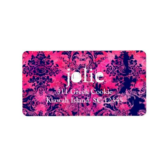 GC |  Vintage Pink Ink Damask Label