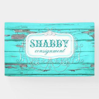 GC Vintage Shabby Aqua Wood Banner
