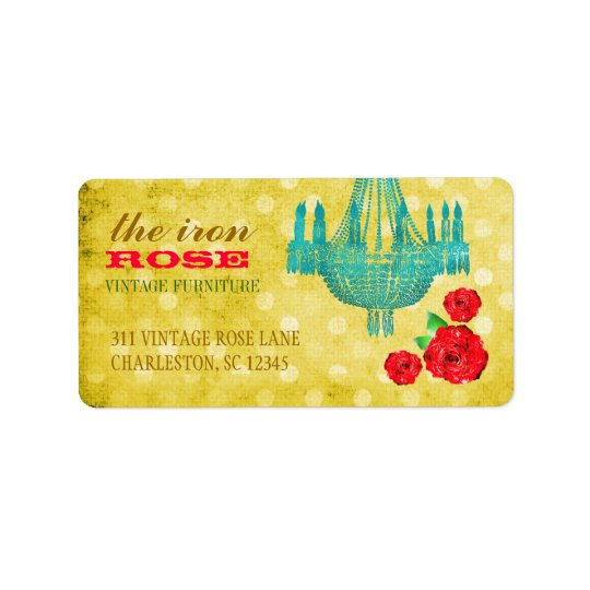 GC Yellow Vintage Rose Dots Address Label