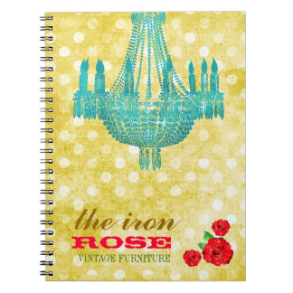 GC Yellow Vintage Rose Dots Notebooks