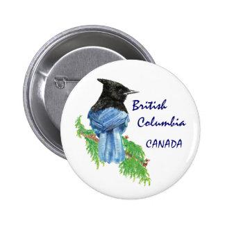 Geai stellaire d'aquarelle du Canada de Macaron Rond 5 Cm