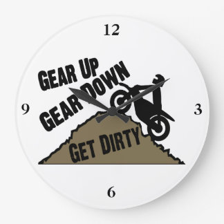 Gear Up Gear Down Dirt Bike Rider Large Clock