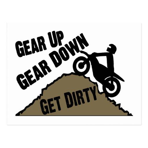 Gear Up Gear Down Dirt Bike Rider Post Card