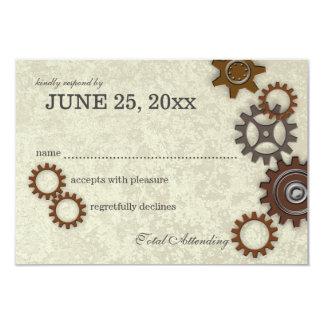 "Gears Rustic Industrial Wedding Response 3.5"" X 5"" Invitation Card"