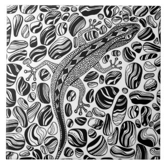 Gecko and pebbles tile