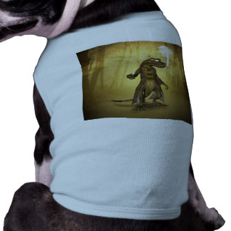 Gecko drôle avec les lunettes de soleil et le tee-shirt pour chien