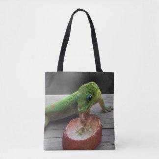 Gecko Eating Grapes Tote Bag