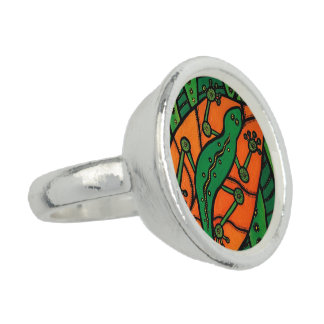 Gecko Green And Orange Photo Ring