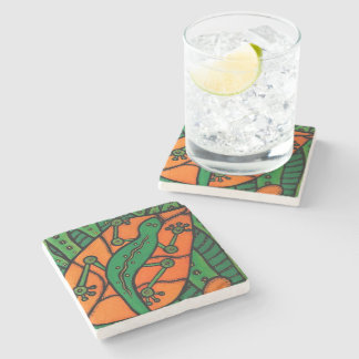 Gecko Green And Orange Stone Coaster