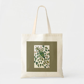 Gecko in green and gold tote bag