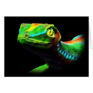 Gecko Lizard Rainbow Colors Greeting Cards