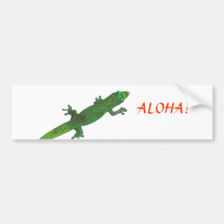 "Gecko Looking at ""Aloha"" Greeting Bumper Sticker"