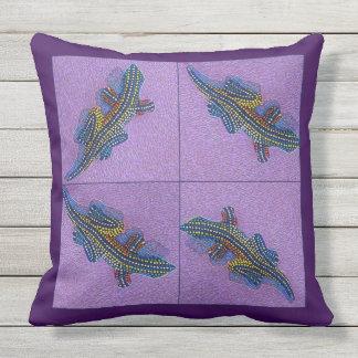 Gecko on mosaic tiles throw pillow