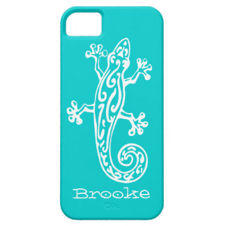 Gecko reptile white & aqua name iphone 5 case