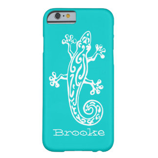 Gecko reptile white & aqua name iPhone 6 case