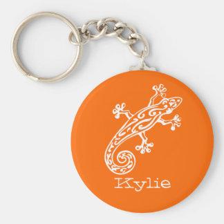 Gecko reptile white & orange named keychain