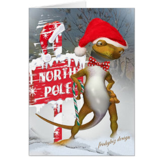 Gecko Visits North Pole Cards