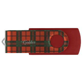 Geddes clan Plaid Scottish kilt tartan Swivel USB 3.0 Flash Drive