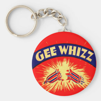 Gee Whizz Type Graphics Vintage Firecrackers Label Keychain