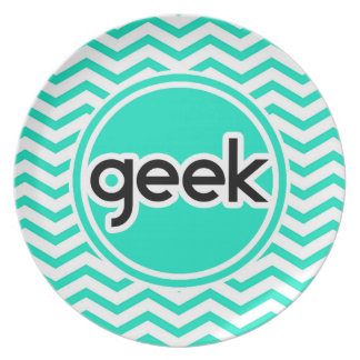Geek Aqua Green Chevron Plate