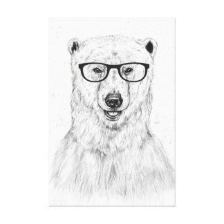 Geek bear canvas print