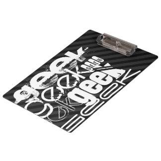 Geek; Black & Dark Gray Stripes Clipboard