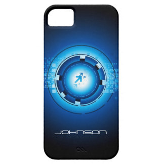 Geek Blue Abstract Hi-Tech Concept - Cool Case For The iPhone 5
