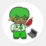 Geek Boy Classic Round Sticker