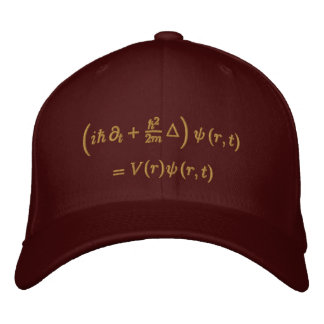 Geek: Cap, Schrodinger equation, Sisal Embroidered Hat