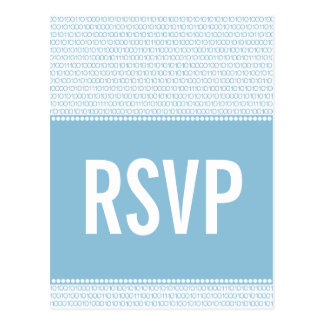 Geek Chic Binary Code RSVP Postcard, Blue Postcard