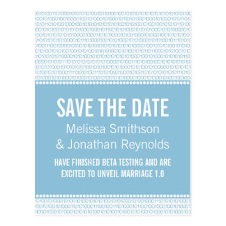 Geek Chic Save the Date Postcard, Blue Postcard