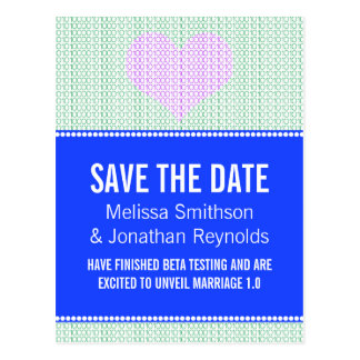 Geek Chic Save the Date Postcard, Blue w/ Heart v3 Postcard