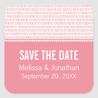 Geek Chic Save the Date Stickers, Pink Square Sticker