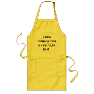 Geek cooking has a real byte to it. long apron