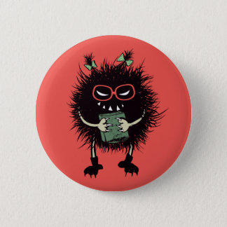 Geek Evil Bug Student With Book 2 Inch Round Button