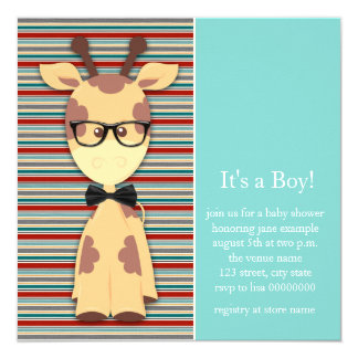 Geek Giraffe Baby Boy Shower Card