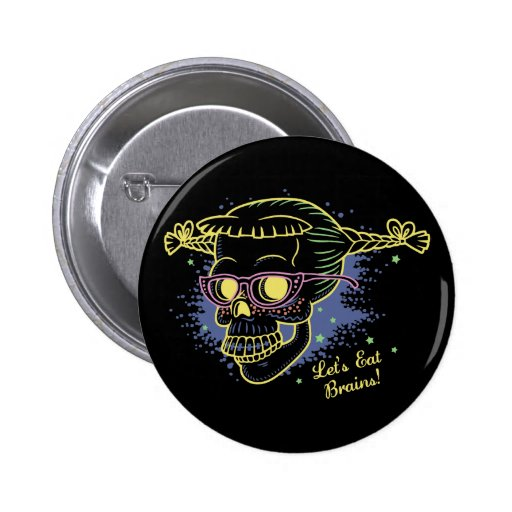 Geek Girl Zombie Skull Pin