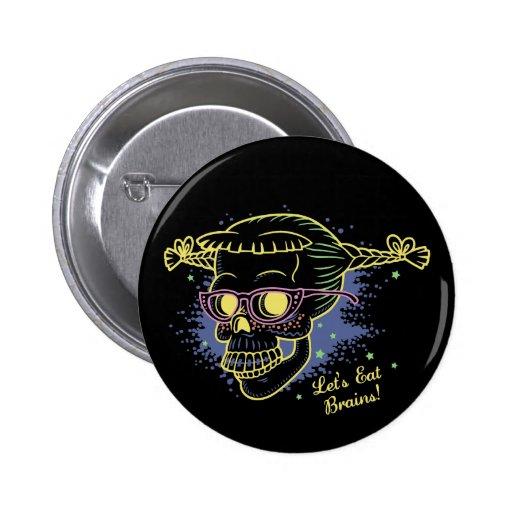 Geek Girl Zombie Skull Button