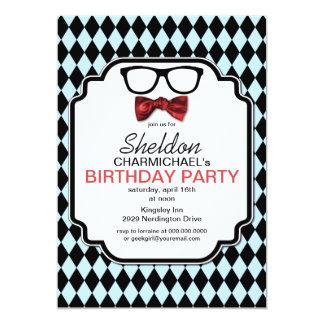 Geek Glasses, Bow Tie & Argyle Birthday Invitation