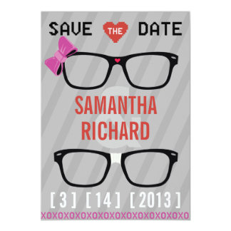 Geek Glasses  & Hearts Wedding Save the Date Card