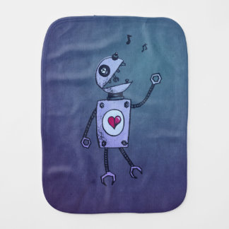Geek Grunge Happy Singing Robot Burp Cloth